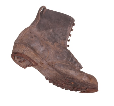 old boot with steel shoe sole photo