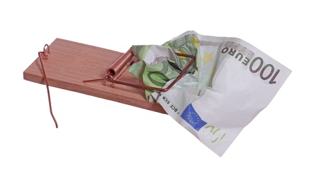 100 euro bank note in mouse trap photo