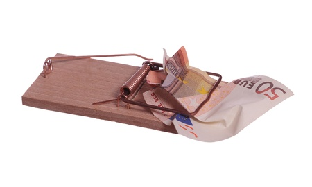 50 euro bank note in mouse trap photo