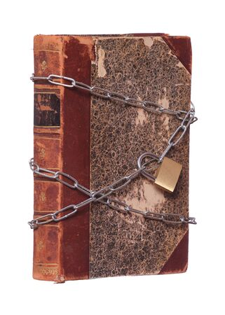 old historic book protected with padlock and chain photo
