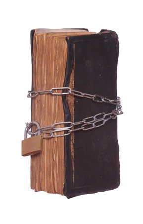 prayer book protected with padlock and chain photo