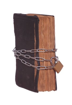 old historic prayer book protected with padlock and chain photo