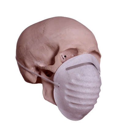 skull with surgical mask on white background Stock Photo - 17929121