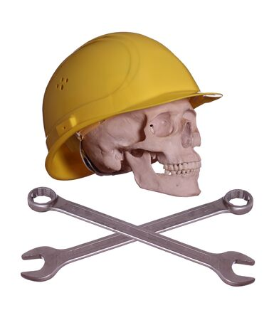 skull and bones with helmet and wrench photo