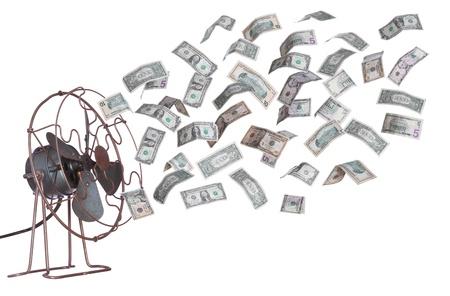 foukání: stará ventilátor a dolarové bankovky Reklamní fotografie