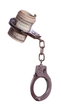 banknotes in handcuff photo