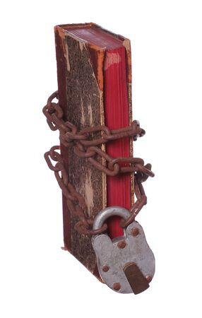 old book with rusty chain and padlock photo