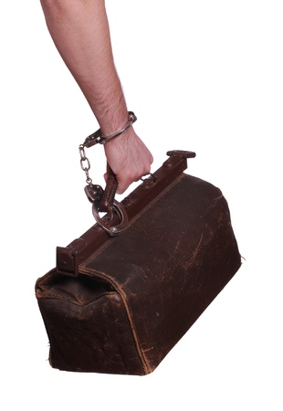old bag protected with handcuff photo