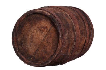 guarniciones: muy viejo barril de madera con herrajes oxidados