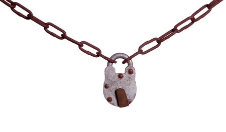 old padlock on rusty chain