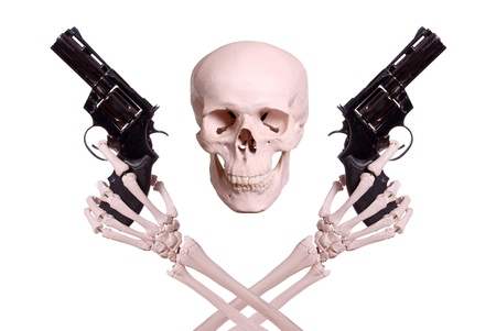 skull with two skeleton hands holding guns photo