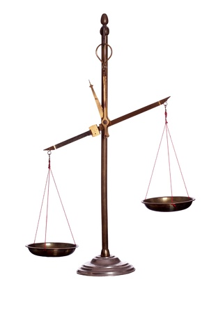 antique scales: old golden scale Stock Photo