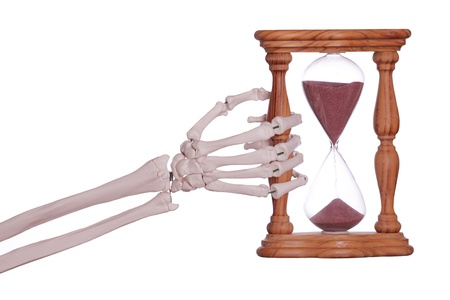 sand timer: skeleton hand holding sand timer