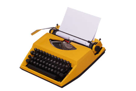yellow typewriter with paper photo
