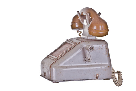 crank: tel�fono antiguo con manivela Foto de archivo