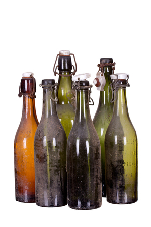 concept very old dusty bottles photo