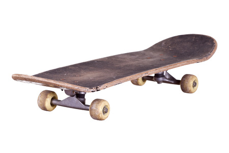 old wooden skateboard  isolated on white