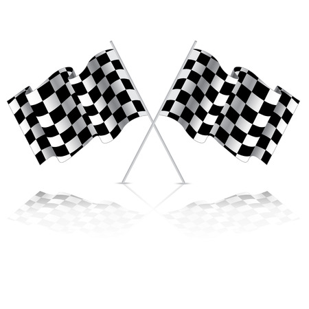 Checkered flag for car racing. Isolated on white background. Two Finish flag with shadow. Race flag. finish illustration. Waving Checkered flag Vector