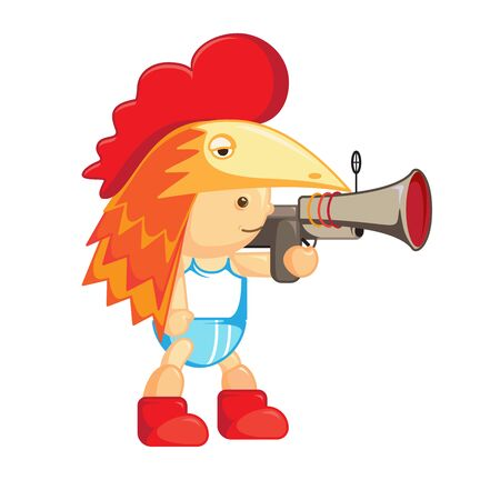 superheroes: Baby in the chicken mask. Hen. Cartoon. Character.A boy with a gun. Web character. , Superheroes isolated boys. illustration for a fairy tale. Colorful and fun