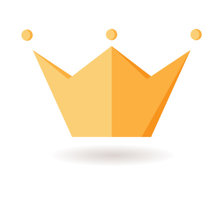 golden color: Crown. Symbol of power. Fabulous icon. Force. Isolated object. Flat picture. Childrens illustration for stories, childrens crown. Flat design with shadow, yellow and golden color. For the coronation of a king, prince, princess