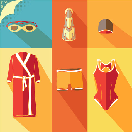 protective gown: Clothes for swimmers. Sportswear. Swimfins. Swim fins. Fins. Flippers.  Glasses for swimming.  Khalat for swimming. Swim briefs. Racing brief. Swim cap.  Swimsuit. Flat image.