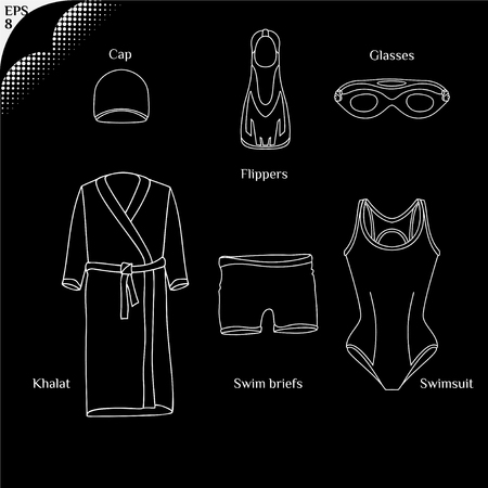 swimming cap: Clothes for swimmers. Sportswear. Swimfins. Swim fins. Fins. Flippers. Glasses for swimming.  Khalat for swimming. Swim briefs. Racing brief. Swim cap. Swimsuit. Things for swimmers 2