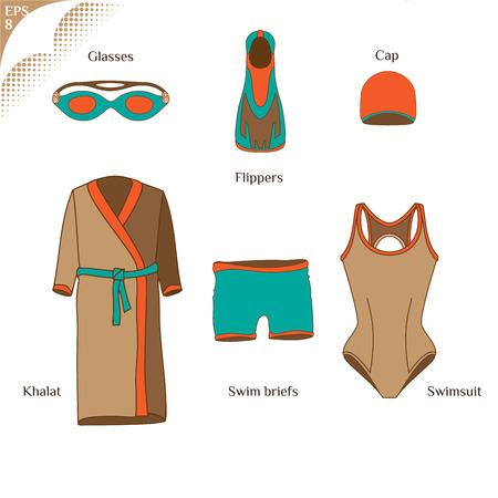 Die Kleidung für die Schwimmer. Sportswear. Schwimmflossen. Schwimmflossen. Flossen. Flippers. Schwimmbrillen. Khalat zum Schwimmen. Badehosen. Racing kurz. Badekappe. Badeanzug. Dinge für Schwimmer 4 Standard-Bild - 39146396