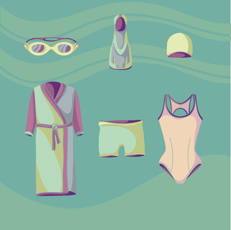 Clothes for swimmers. Sportswear. Swimfins. Swim fins. Fins. Flippers. Glasses for swimming.  Khalat for swimming. Swim briefs. Racing brief. Swim cap. Swimsuit. Things for swimmers. 3 Vector