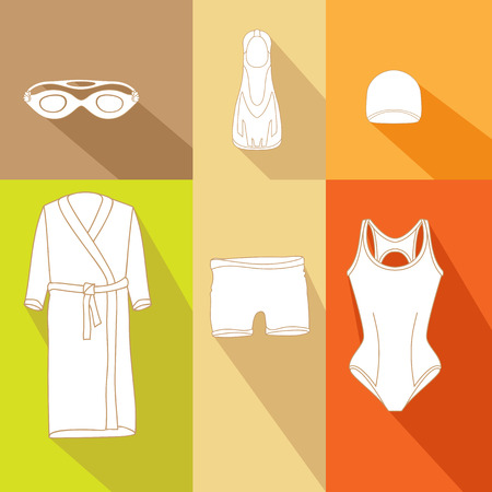 swim cap: Clothes for swimmers. Sportswear. Swimfins. Swim fins. Fins. Flippers. Glasses for swimming.  Khalat for swimming. Swim briefs. Racing brief. Swim cap. Swimsuit. Things for swimmers Illustration