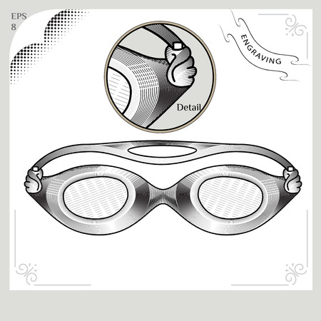 swimmer's: Clothes for swimmers. Sportswear. Water Sports. Glasses for swimming. Swimming in the pool. IIllustration in style of engraving