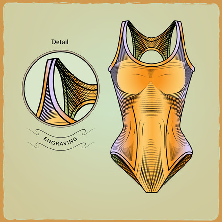 swimmer's: Clothes for swimmers. Sportswear. Water Sports. Swimsuit. Swimming in the pool. Color illustration in style of engraving.jpg