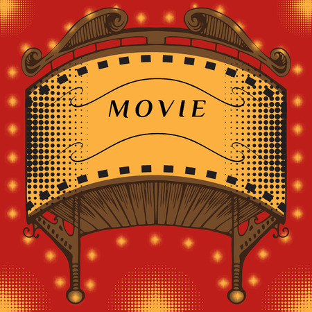 preview: Illuminated cinema marquee. Movie marquee vector. Movies hand drawing. Retro cinema sign. Brightly glowing retro cinema neon sign.