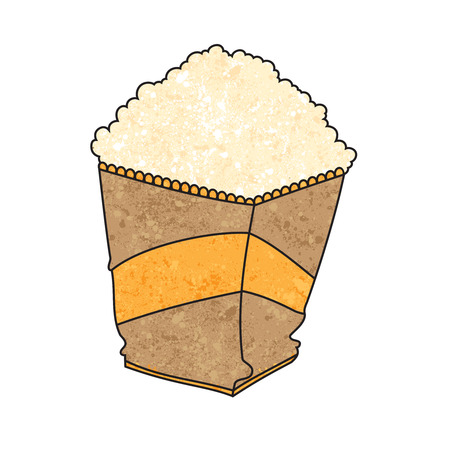 movie theater: Paper bag full of popcorn. Movies Hardwar. Food for the theater. Cinema. Elements of the movie. Drawing  style grunge.