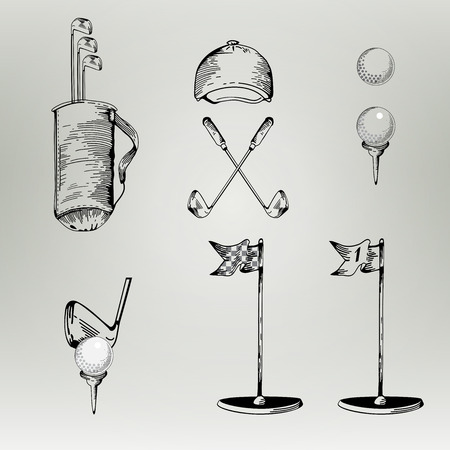 golf hole: Golf. Vintage golf. Vector Golfing Champion  Icons. Cartoon style. Elements for golf.