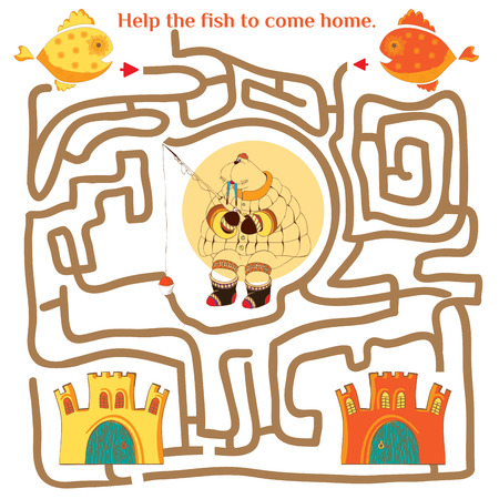 Funny labyrinth. Help the fish to come home. Illustration with tangled lines. Funny cartoon character. Vector illustration. Isolated on white background Vector