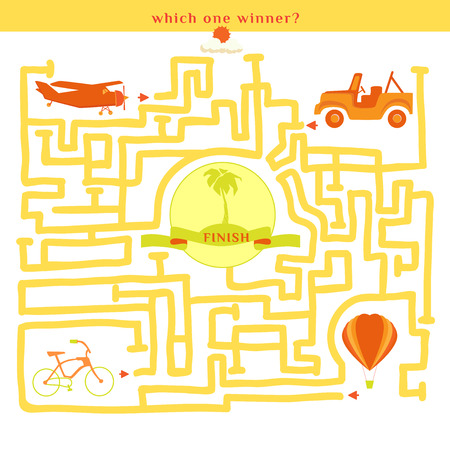 which one: Rebus vector. Funny labyrinth with bike car plane balloon. Find out which one winner. Cartoon puzzle. Illustration