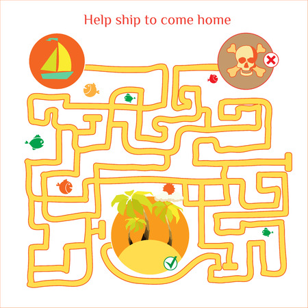 Rebus vector. Funny labyrinth with ship and pirates. Cartoon puzzle.  Vector