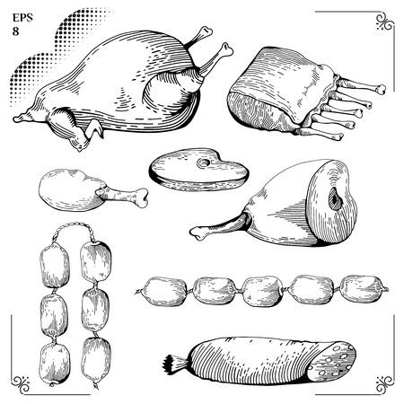 gammon: Pollo y pollo pierna, Gammon, costillas, salchichas, filetes. Ilustraci�n de dibujos animados. Conjunto Carne. Gr�ficos imagen. Estilo de grabado. Eps 8 Vectores