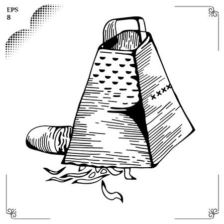reibe: Kulinarisch Chiffonade oder Baton und Julliene ana batonnet. Reibe. Kochen Schritte. Zubereitungsmethoden. Aufschneiden von Lebensmitteln in W�rfel schneiden. Prozess des Kochens. Illustration