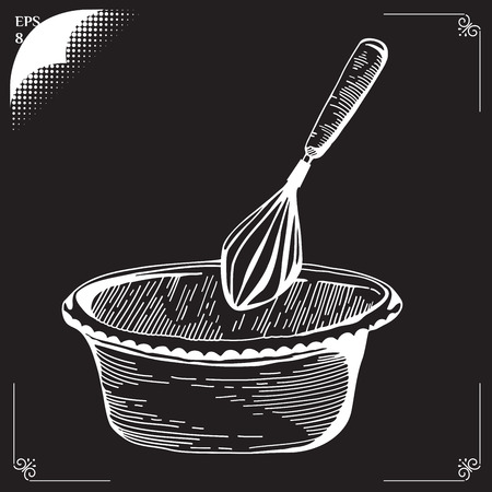 Whisk. Culinary whipped methods. Creme Chantilly. Equipment for cookery. Drawing with chalk. Cooking implements. Cooking steps. Methods of Cooking. Process of cookery.  Ilustração