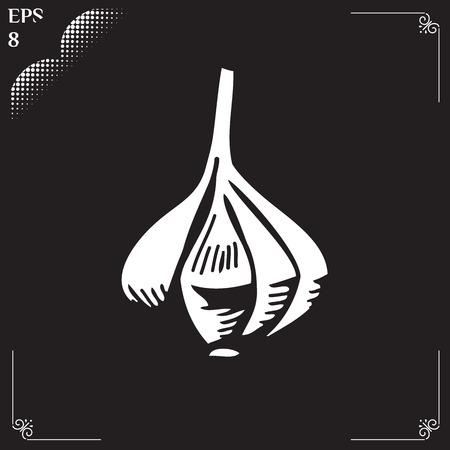 flavoring: Vegetable organic food garlic. Vector Illustration  flavoring drawn in chalk. Garlic cartoon  illustration. Illustration of engraving garlic on black background.