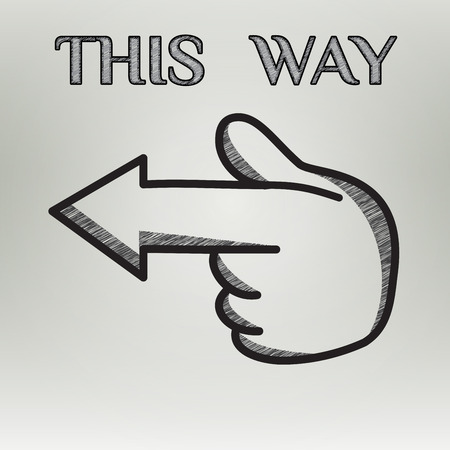 turning point: Vintage hand drawn arrows this way made in vector. Editable business design element. This way road and traffic sign