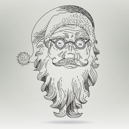 Christmas Card with Santa Claus. Santa Claus Face. Icon. Greeting Card.  Retro Clip Art. Concept illustration. Engraving style. Vector template Illustration