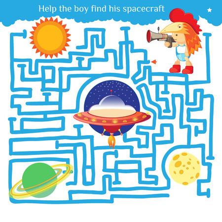 面白い迷路。少年彼の宇宙船を見つけるし、迷路から抜け出すのに役立ちます。複雑に入り組んだ線のイラスト。面白い漫画のキャラクター。ベク  イラスト・ベクター素材