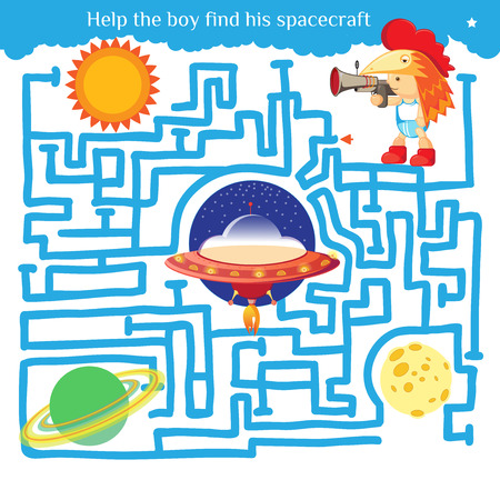 Funny labyrinth. Help the boy find his spacecraft and get out of the maze. Illustration with tangled lines. Funny cartoon character. Vector illustration. Isolated on white background