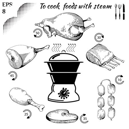 doodled: To cook  foods with steam. Healthy food. Cooking on Steaming. Tasty meat concept collection. Isolated Illustration of meat. Drawn in a doodled style. Engraving image.