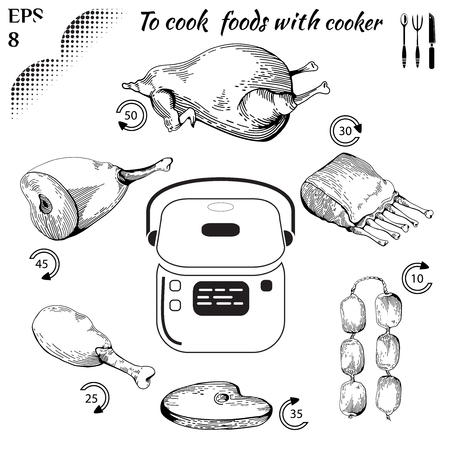 doodled: to cook food with cooker vector. Healthy food. Tasty meat concept collection. Multicooker. Isolated Illustration of fry meat. Drawn in a doodled style. Poster on chalkboard.