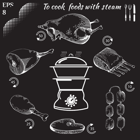 doodled: To cook foods with steam. Healthy food. Cooking on Steaming. Tasty meat concept collection. Engraving Illustration of meat. Drawn in a doodled style. Poster on chalkboard.
