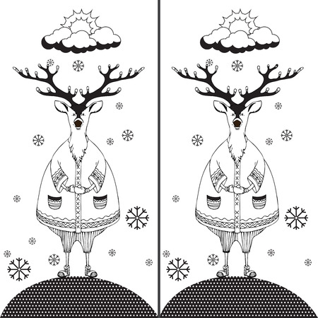 funny pictures: Find the ten differences between the two pictures and Coloring page. Funny cartoon Deer. Puzzle for kids. Hand drawn image.