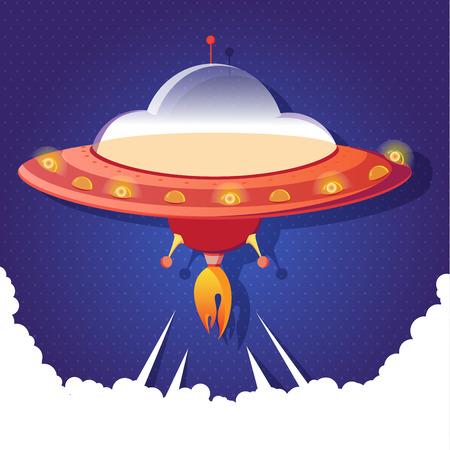 starship: Funny cartoon Spacecraft. Cute cartoon boy in Flying Shuttles. Illustration starship